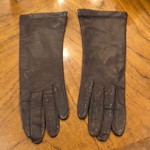 Vintage chocolate brown silk lined leather gloves